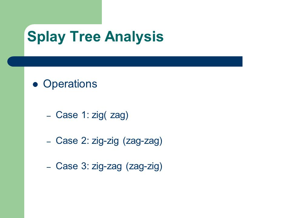 Splay Tree Analysis Operations Case 1: zig( zag)