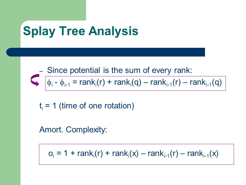 Splay Tree Analysis Since potential is the sum of every rank: