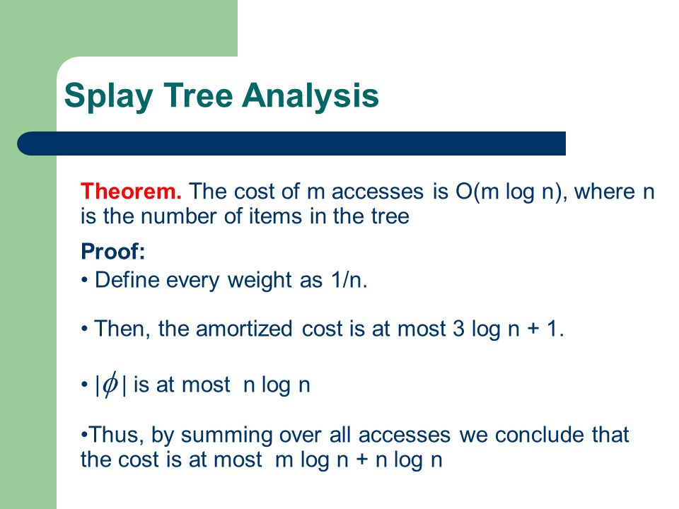 Splay Tree Analysis Theorem. The cost of m accesses is O(m log n), where n is the number of items in the tree.