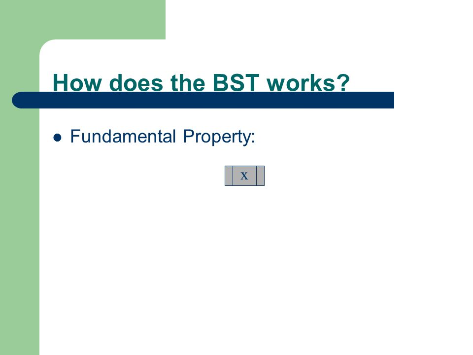 How does the BST works Fundamental Property: x
