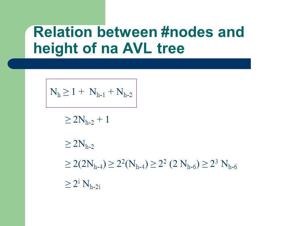 Relation between #nodes and height of na AVL tree