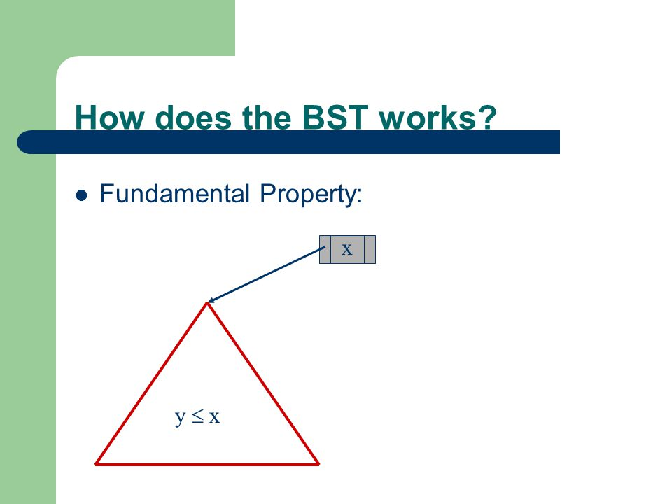 How does the BST works Fundamental Property: x y  x