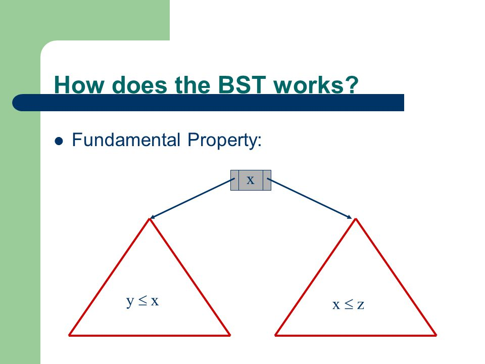 How does the BST works Fundamental Property: x y  x x  z