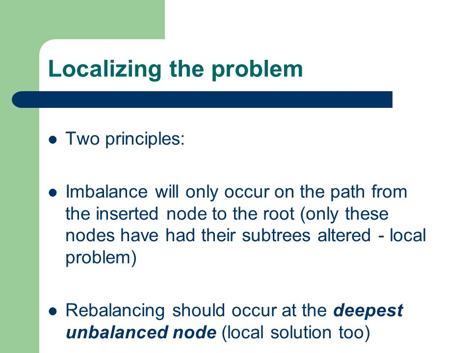 Localizing the problem