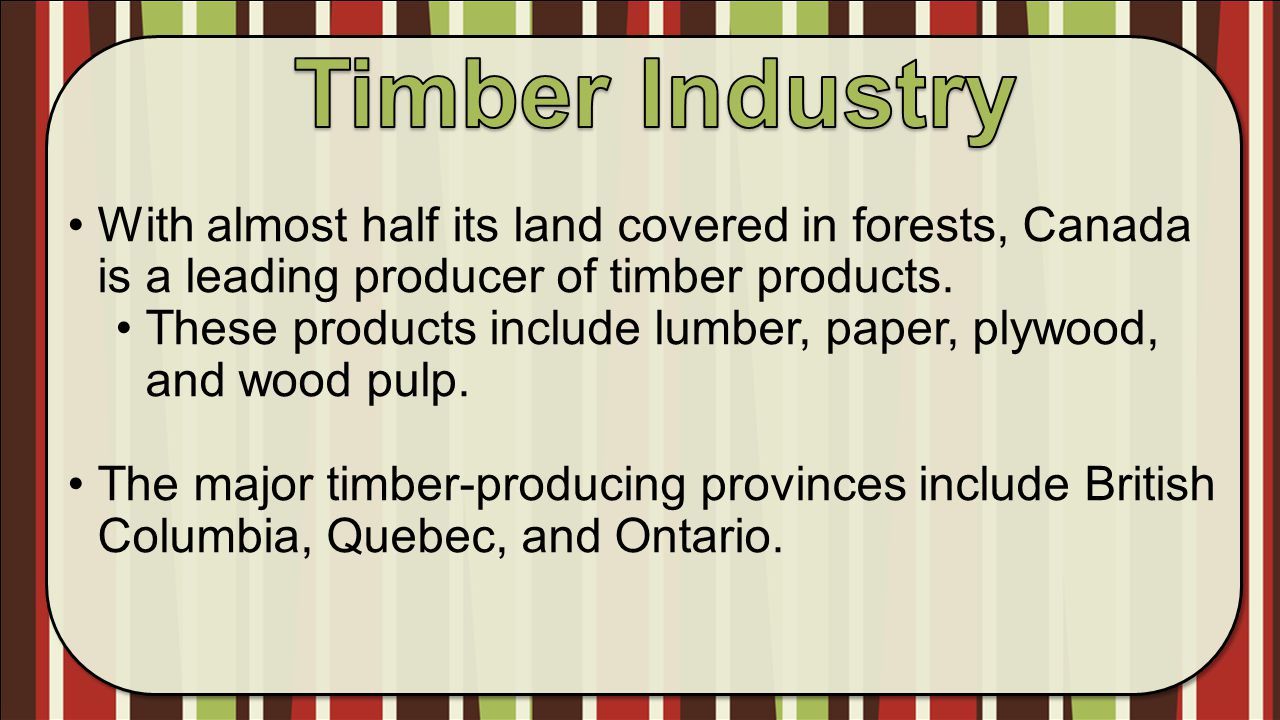Timber Industry With almost half its land covered in forests, Canada is a leading producer of timber products.
