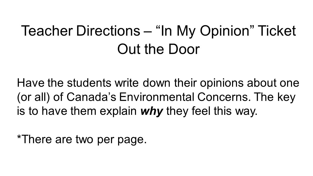 Teacher Directions – In My Opinion Ticket Out the Door
