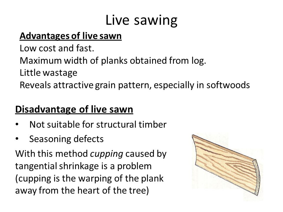 Live sawing Disadvantage of live sawn Advantages of live sawn