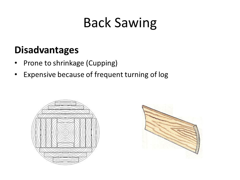 Back Sawing Disadvantages Prone to shrinkage (Cupping)