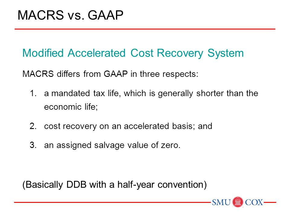 MACRS vs. GAAP Modified Accelerated Cost Recovery System