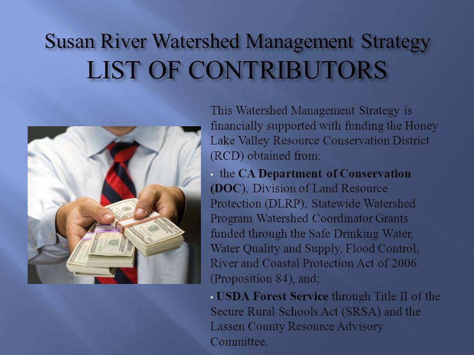 Susan River Watershed Management Strategy LIST OF CONTRIBUTORS