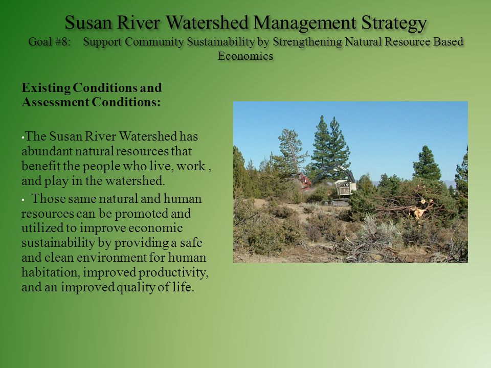 Susan River Watershed Management Strategy Goal #8: Support Community Sustainability by Strengthening Natural Resource Based Economies