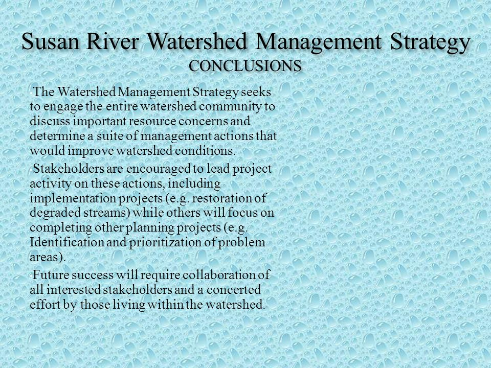 Susan River Watershed Management Strategy CONCLUSIONS