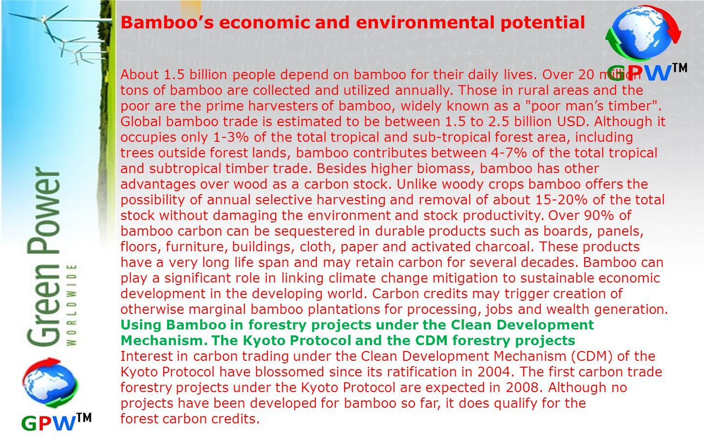 Bamboo's economic and environmental potential