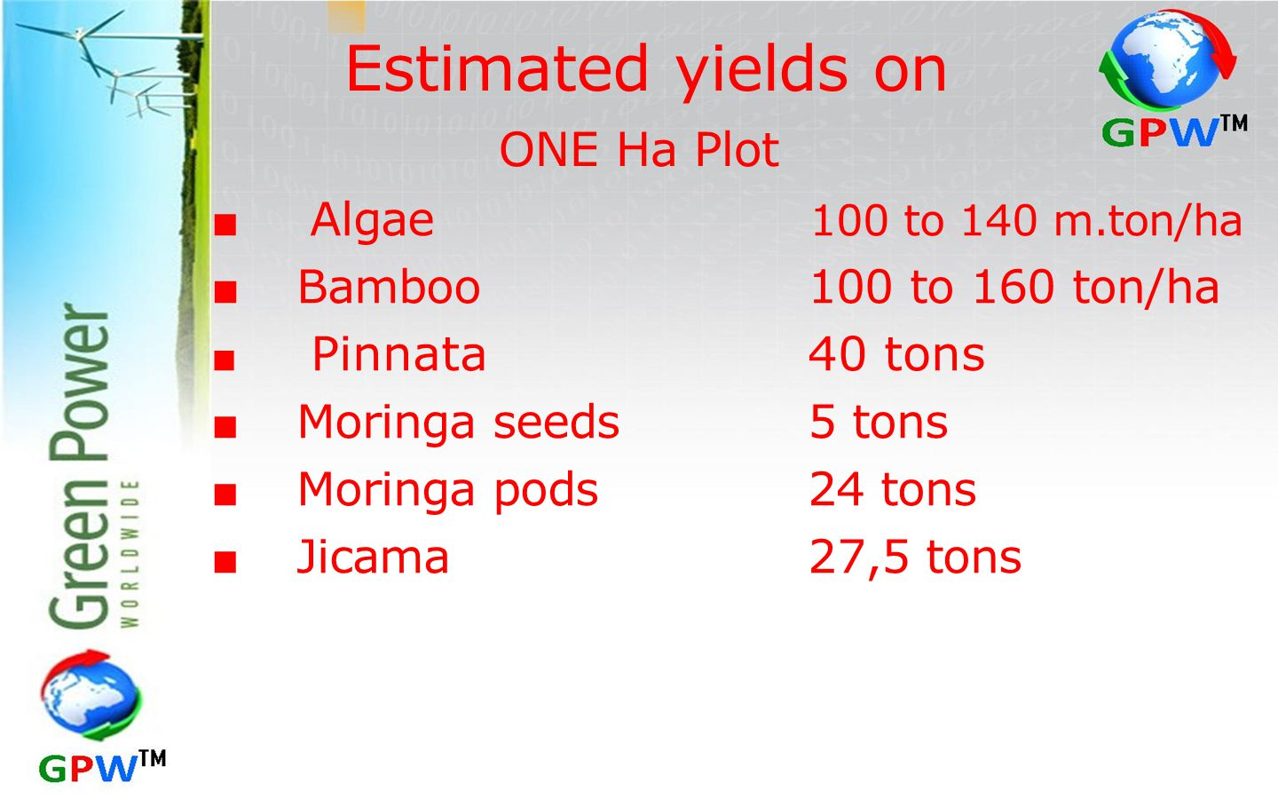 Estimated yields on ONE Ha Plot ■ Bamboo 100 to 160 ton/ha