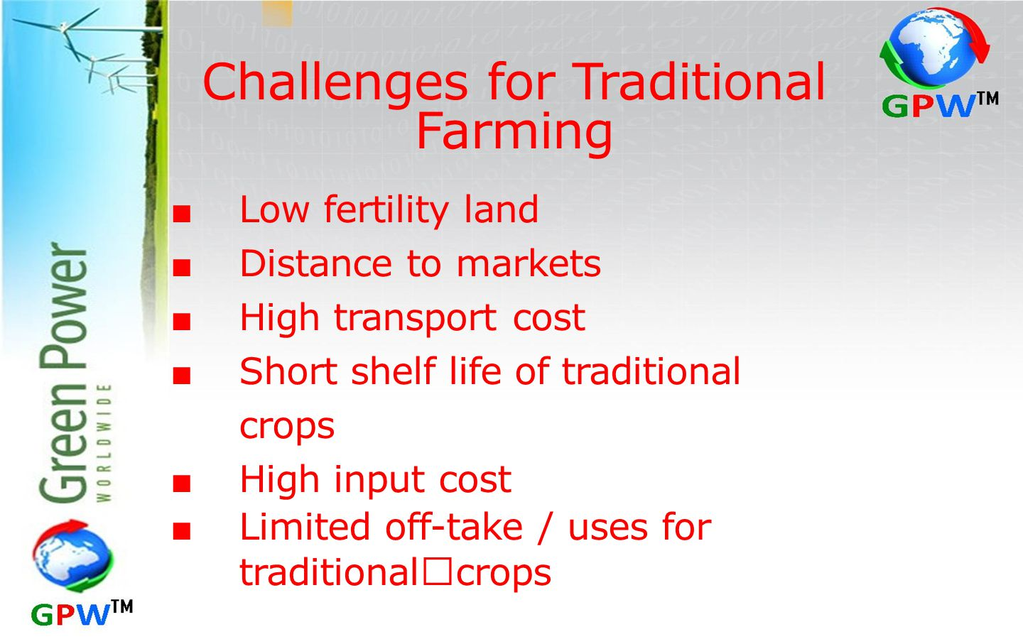Challenges for Traditional Farming