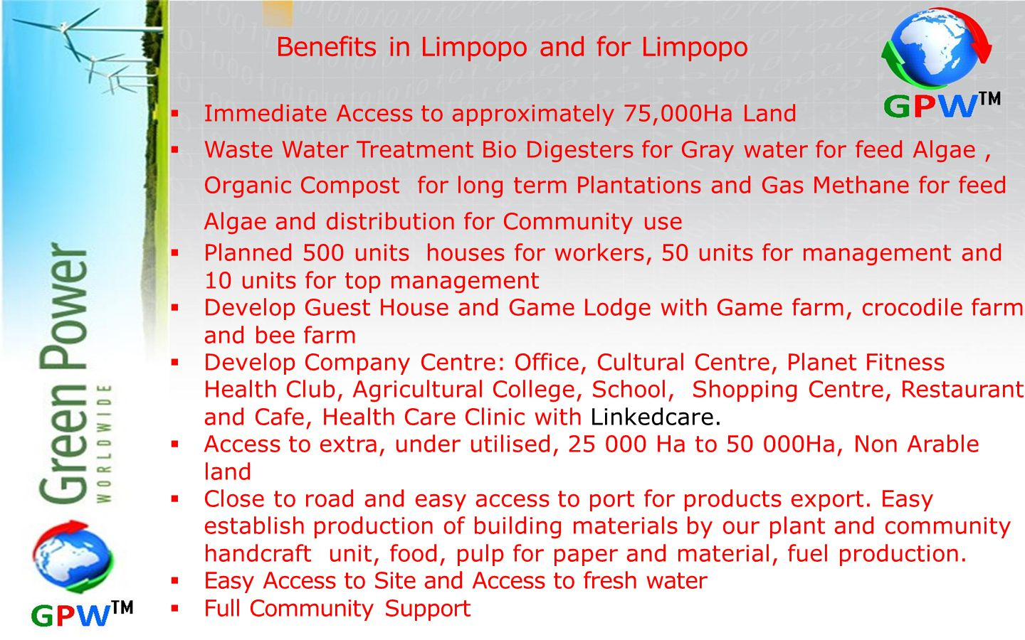 Benefits in Limpopo and for Limpopo