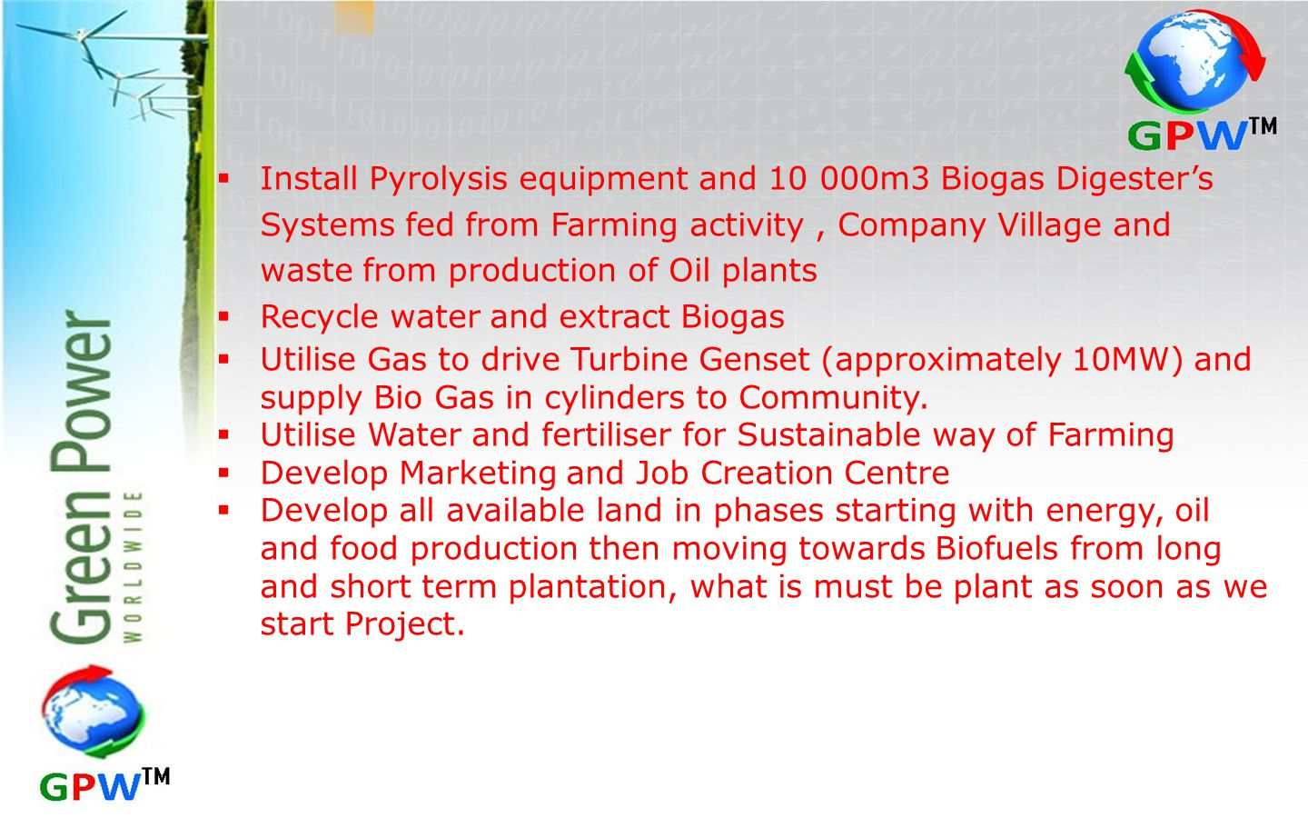 Install Pyrolysis equipment and 10 000m3 Biogas Digester's Systems fed from Farming activity , Company Village and waste from production of Oil plants