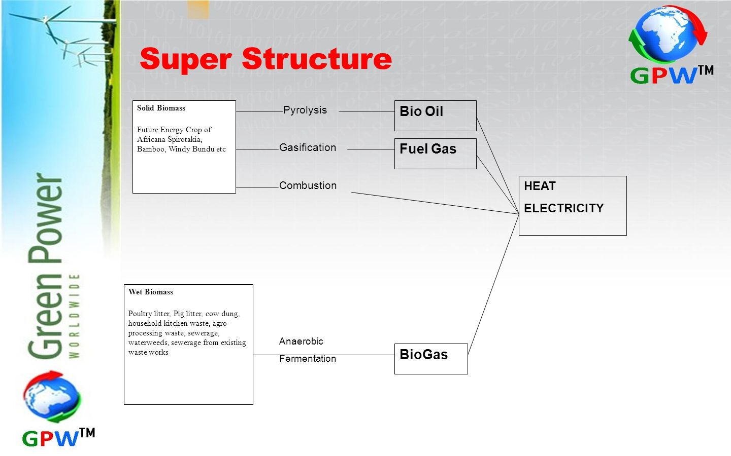 Super Structure Bio Oil Fuel Gas BioGas HEAT ELECTRICITY Pyrolysis
