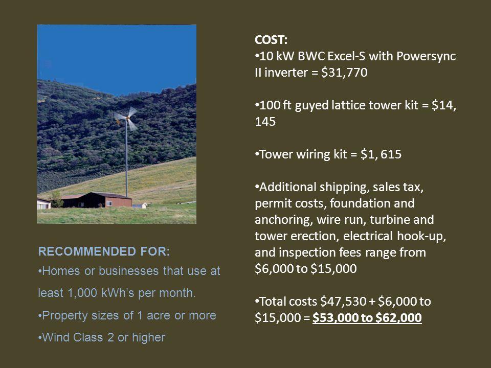 10 kW BWC Excel-S with Powersync II inverter = $31,770
