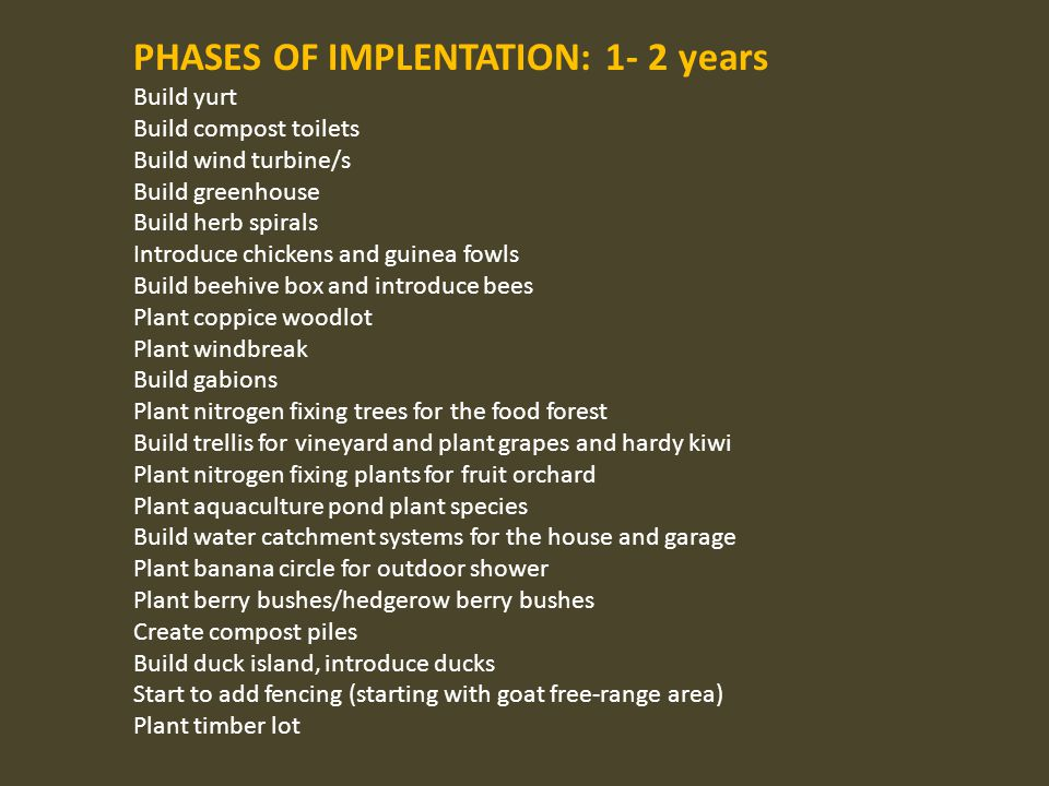 PHASES OF IMPLENTATION: 1- 2 years