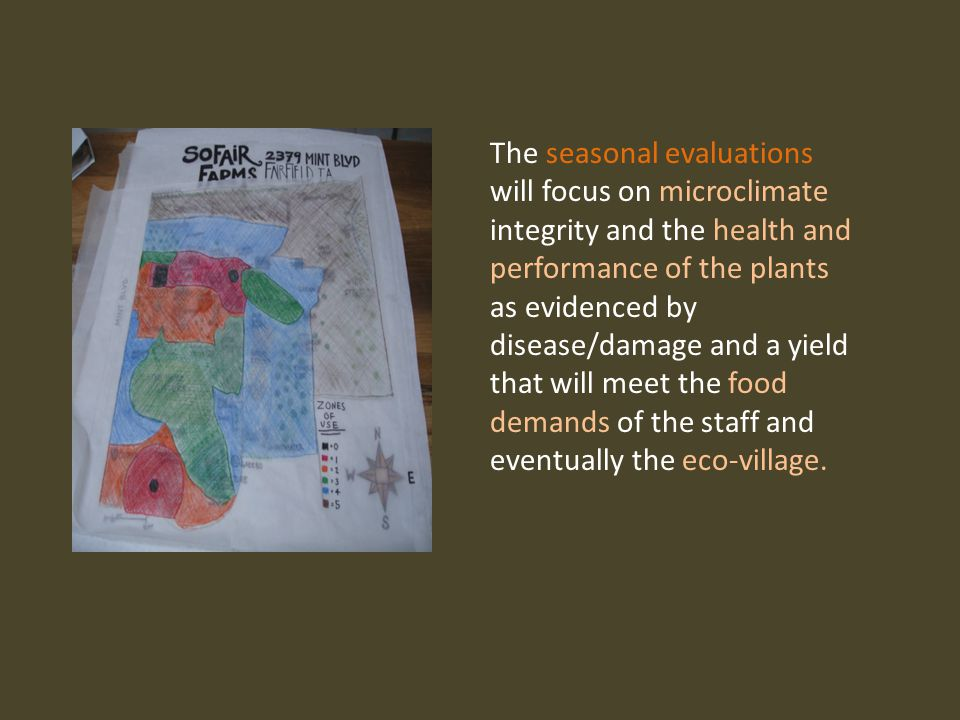 The seasonal evaluations will focus on microclimate integrity and the health and performance of the plants as evidenced by disease/damage and a yield that will meet the food demands of the staff and eventually the eco-village.