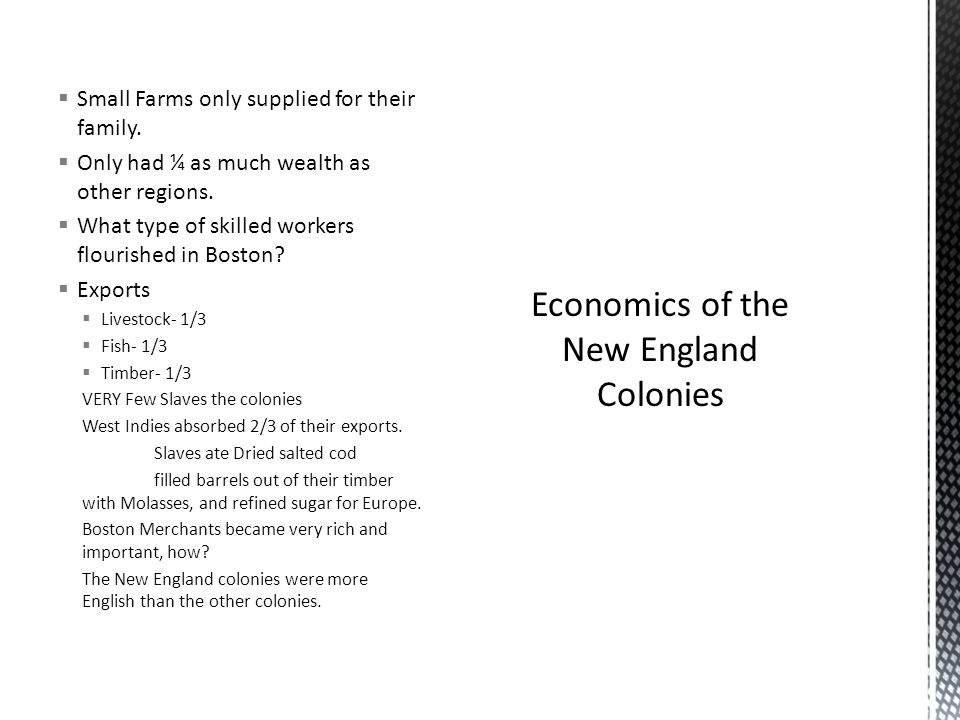 Economics of the New England Colonies