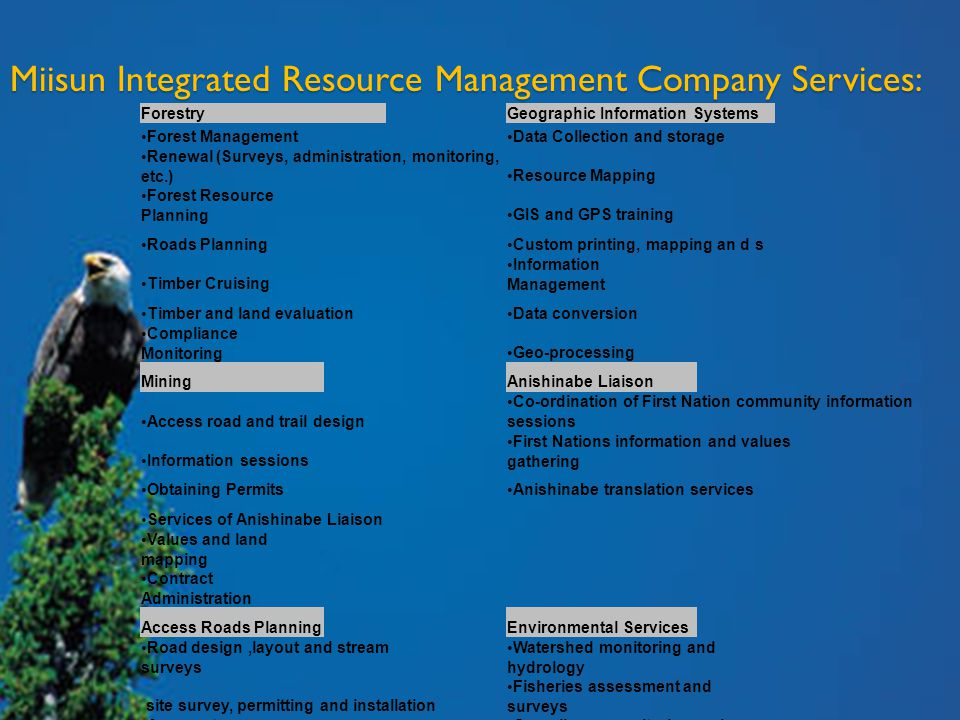 Miisun Integrated Resource Management Company Services: