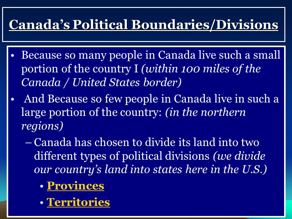 Canada's Political Boundaries/Divisions