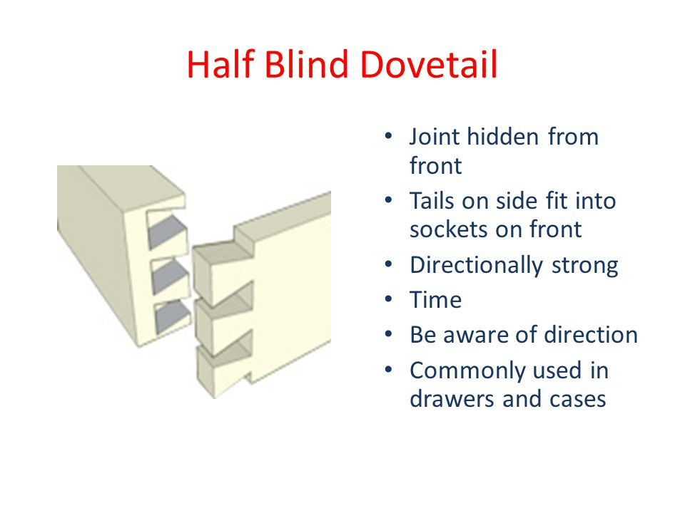 Half Blind Dovetail Joint hidden from front