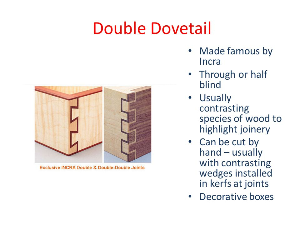 Double Dovetail Made famous by Incra Through or half blind