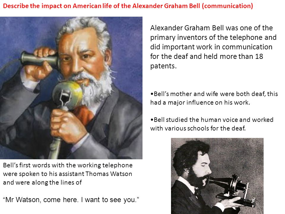 Describe the impact on American life of the Alexander Graham Bell (communication)