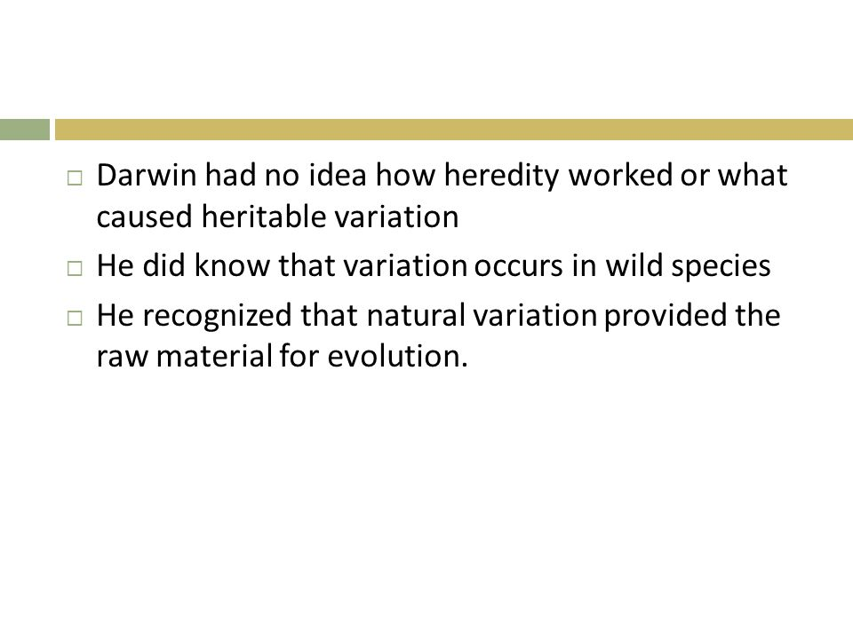 Darwin had no idea how heredity worked or what caused heritable variation