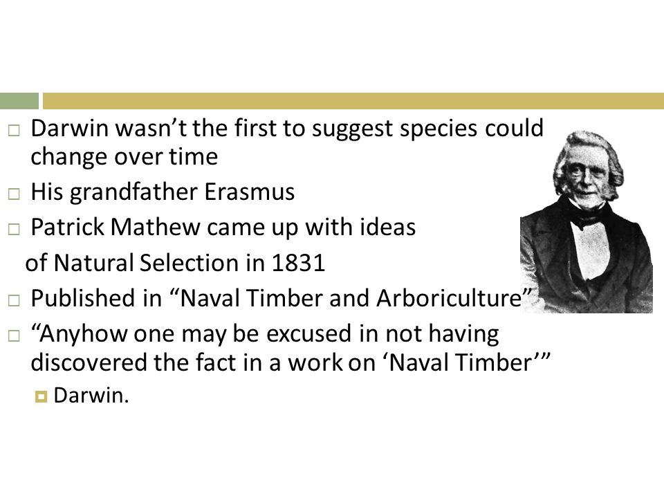 Darwin wasn't the first to suggest species could change over time