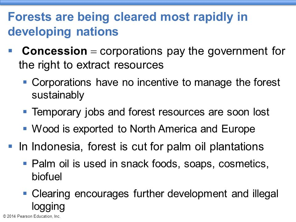 Forests are being cleared most rapidly in developing nations