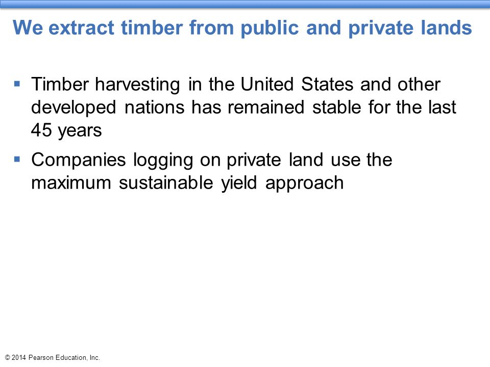 We extract timber from public and private lands