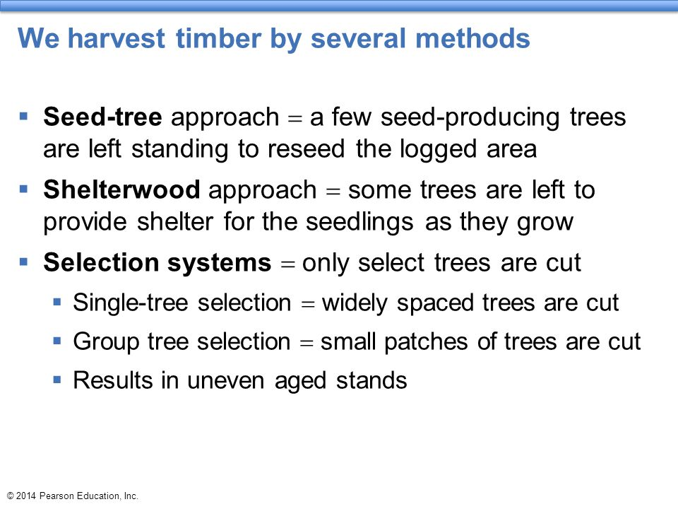 We harvest timber by several methods