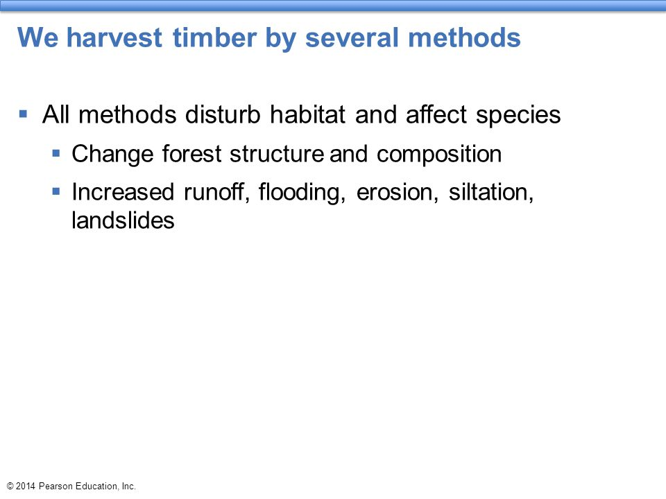 We harvest timber by several methods