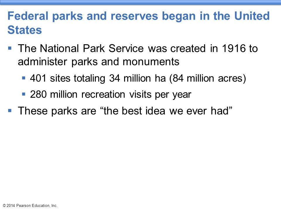 Federal parks and reserves began in the United States