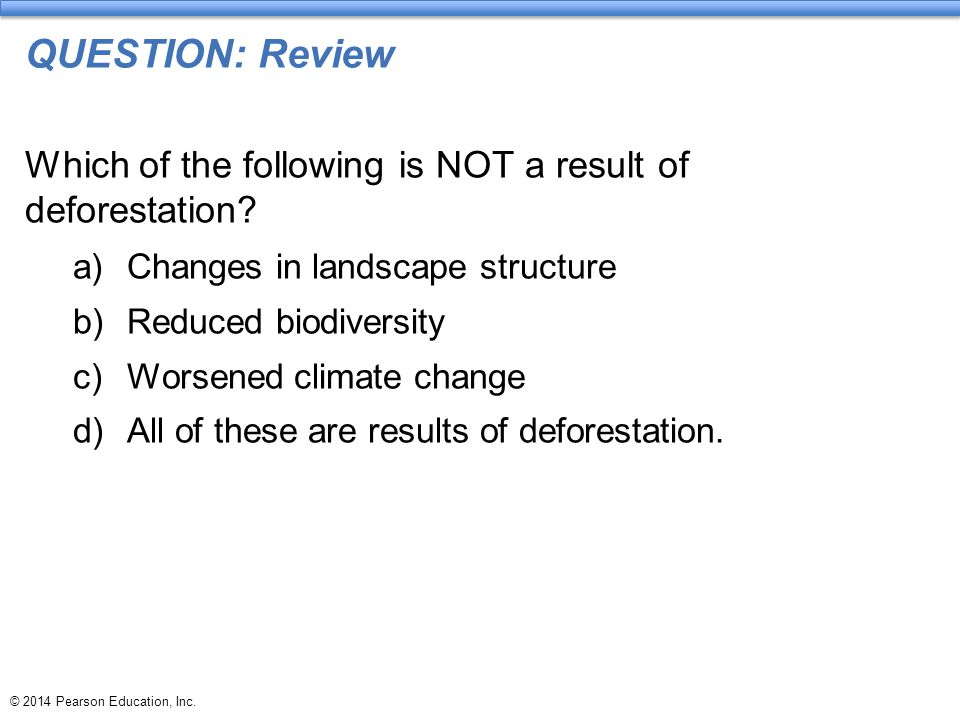 QUESTION: Review Which of the following is NOT a result of deforestation Changes in landscape structure.