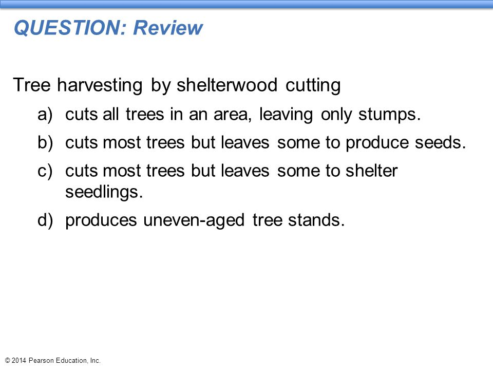 QUESTION: Review Tree harvesting by shelterwood cutting