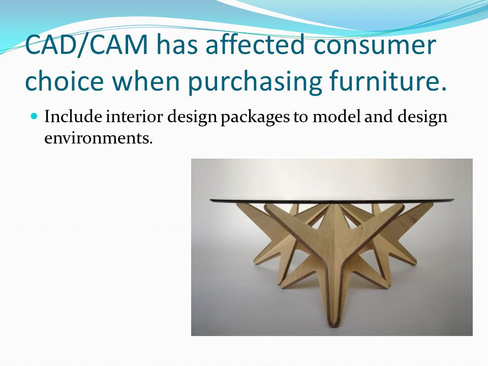 CAD/CAM has affected consumer choice when purchasing furniture.