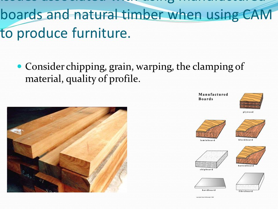 Issues associated with using manufactured boards and natural timber when using CAM to produce furniture.
