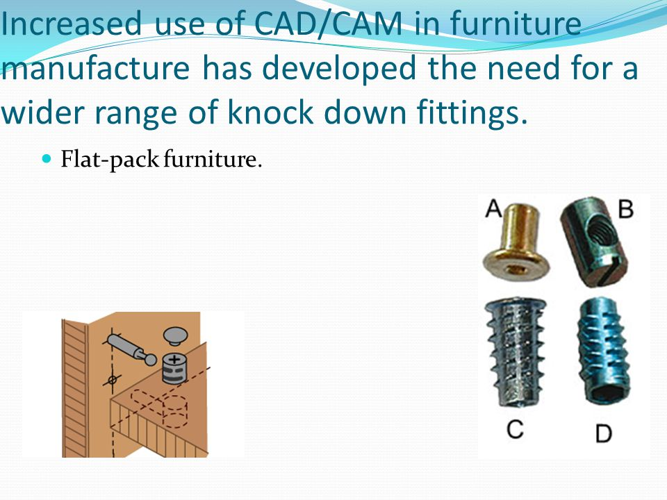 Increased use of CAD/CAM in furniture manufacture has developed the need for a wider range of knock down fittings.