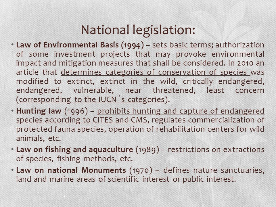 National legislation: