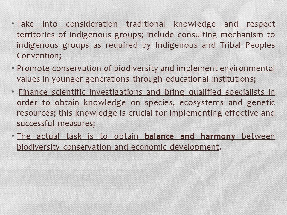 Take into consideration traditional knowledge and respect territories of indigenous groups; include consulting mechanism to indigenous groups as required by Indigenous and Tribal Peoples Convention;