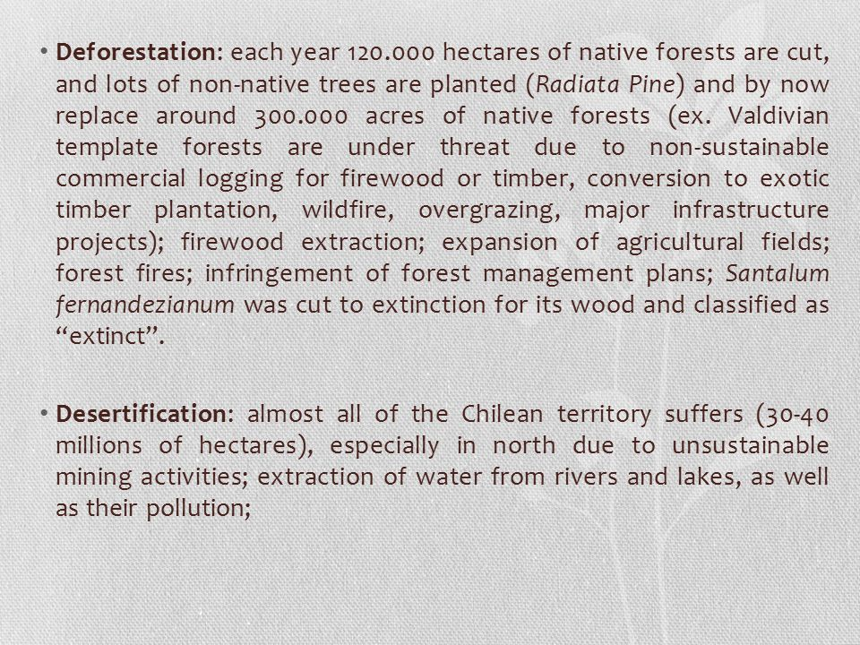 Deforestation: each year 120
