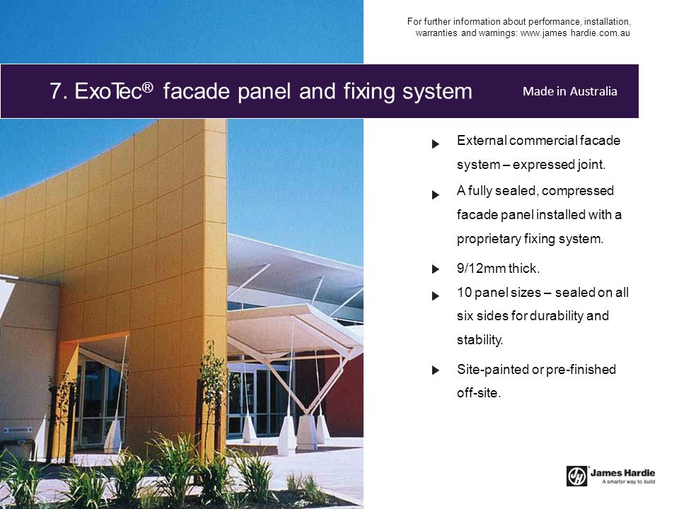 7. ExoTec® facade panel and fixing system