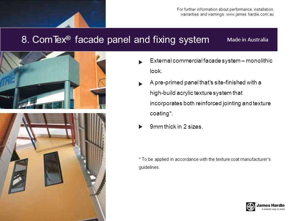 8. ComTex® facade panel and fixing system