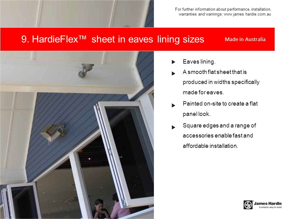 9. HardieFlex™ sheet in eaves lining sizes