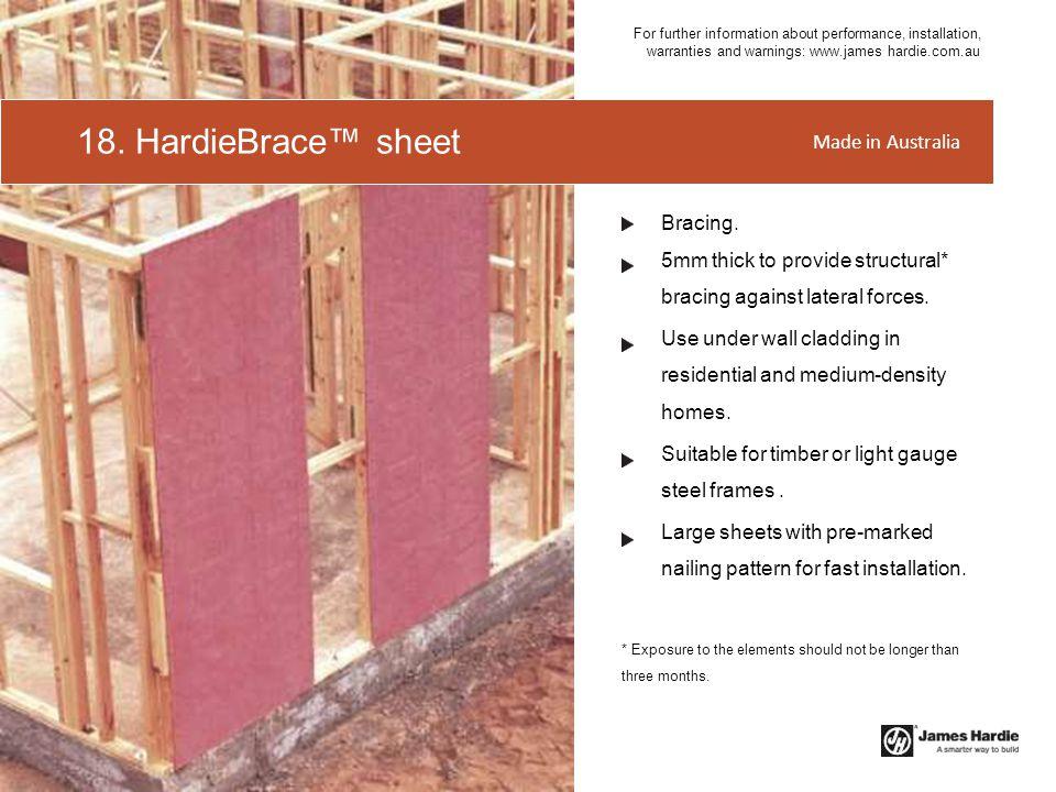 18. HardieBrace™ sheet Made in Australia Bracing.